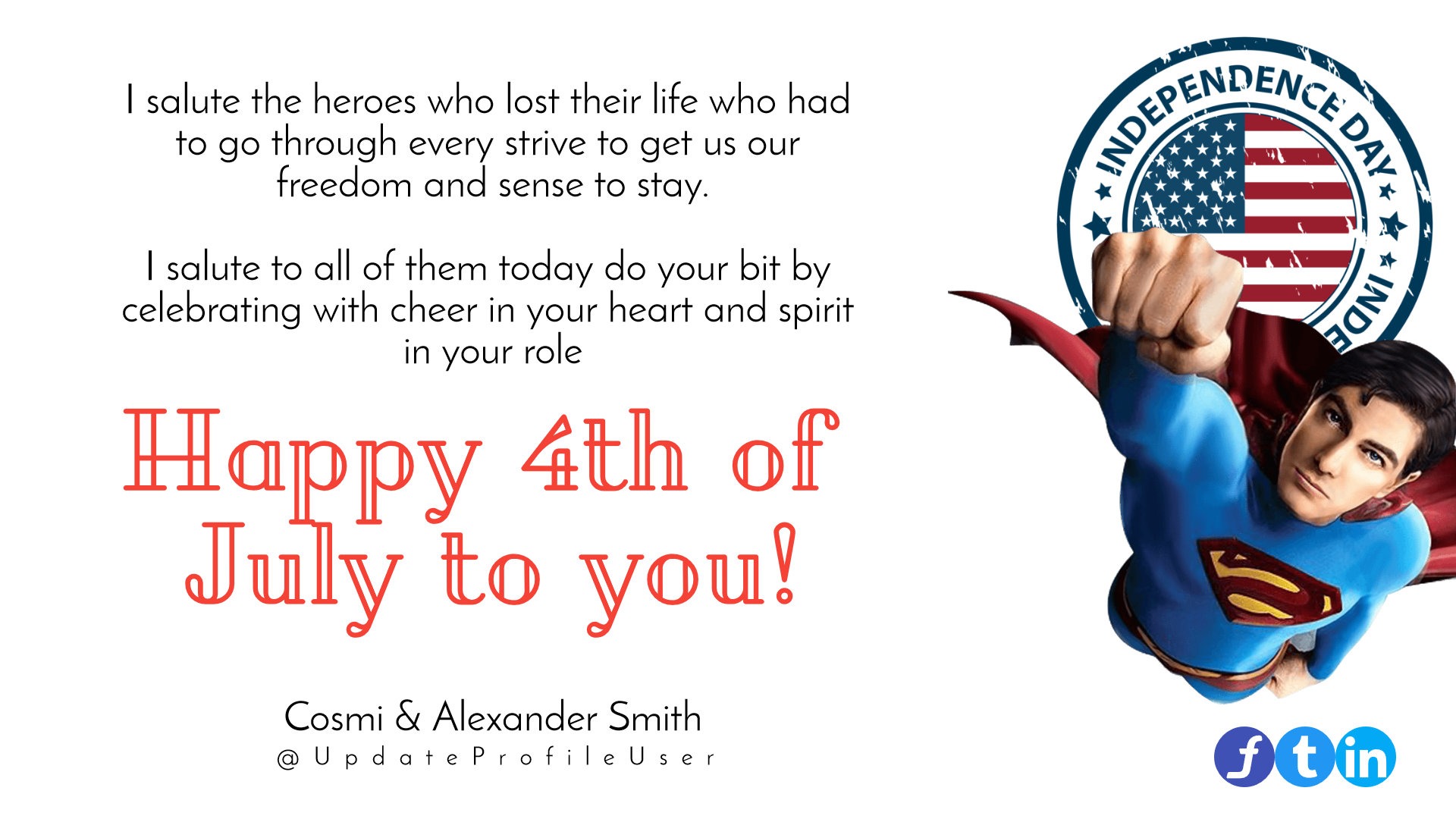4th of July superman annyversary Design  Template
