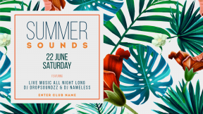 Summer sounds invitation template - #invitation #summer #vibes #business #vacation #fresh #poster #party