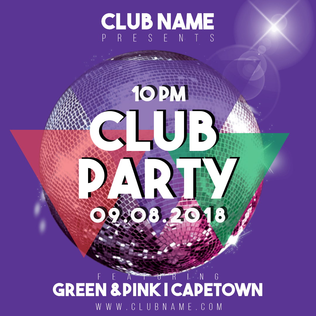 Club party invitation card easy to Design  Template