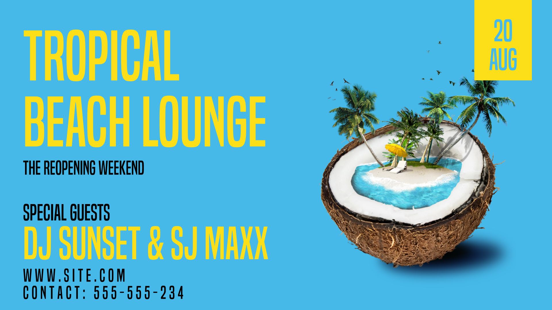 Tropical Beach Lounge #invitation Design  Template