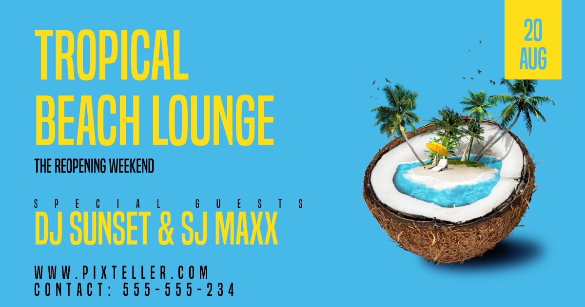 Invitation, Poster, Tropical, Party, Vacation, Yellow, Aqua,  Free Image