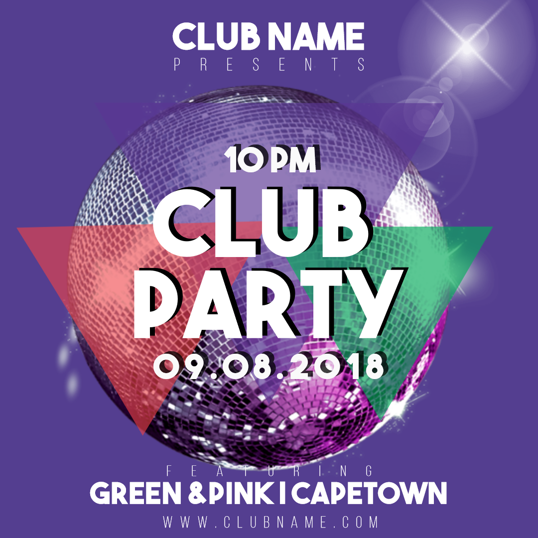Club party invitation card easy to Animation  Template