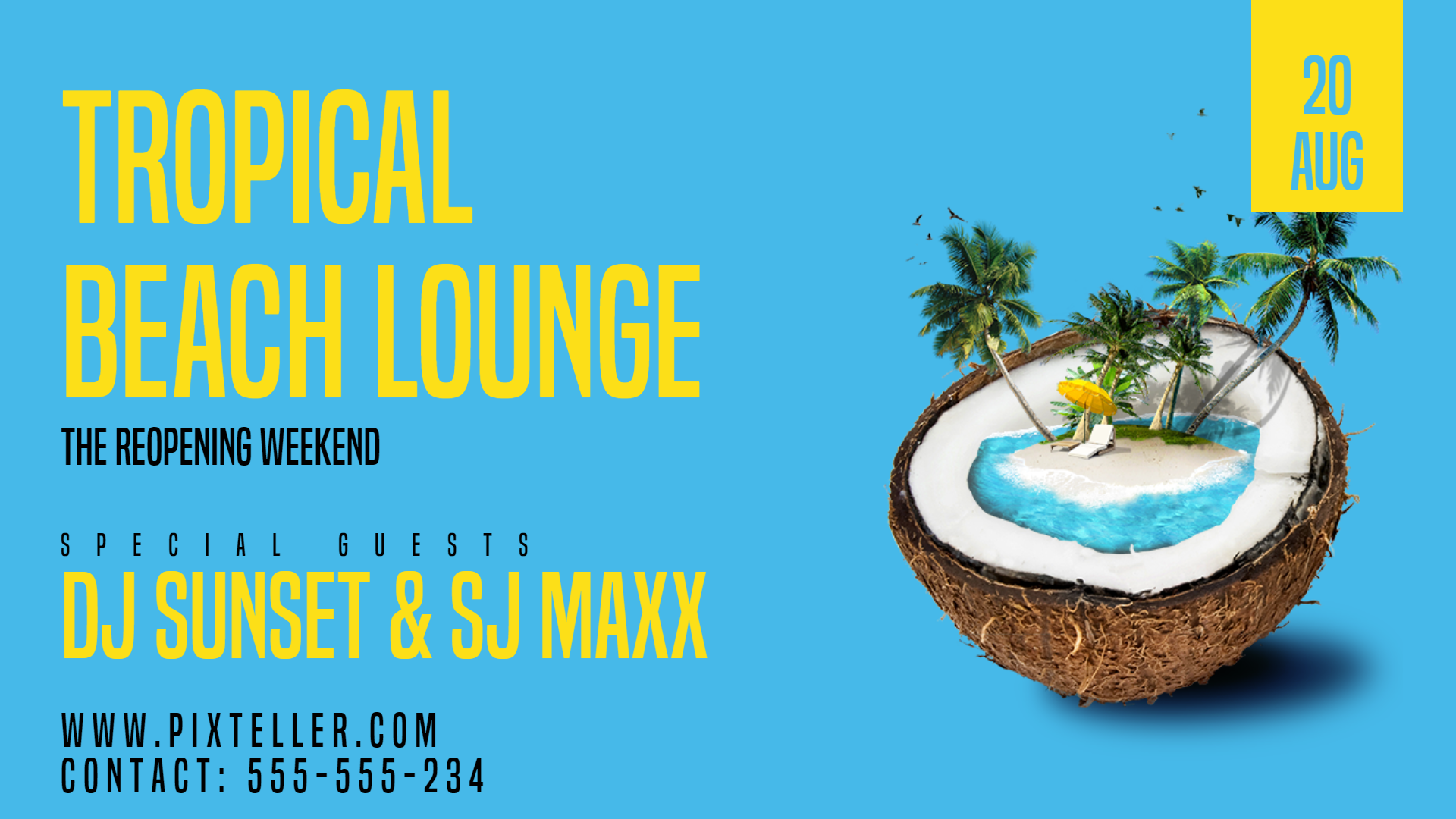 Tropical Beach Lounge #invitation Animation  Template